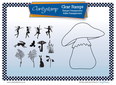 Toadstool Outline + MASK Unmounted Clear Stamp Set