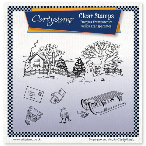 Jayne's Winter Scene - Sled Large Unmounted Clear Stamp Set