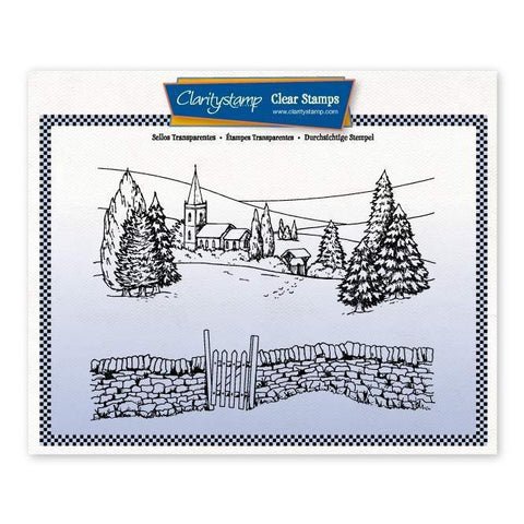 Jayne's Winter Scene - Church + MASK Large Unmounted Clear Stamp Set
