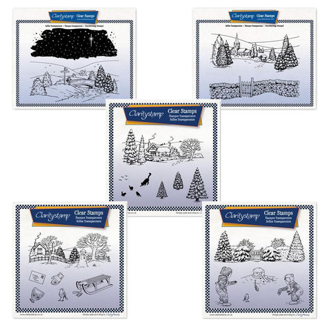 Jayne's Winter Scenes Complete Collection + MASKS Large Unmounted Clear Stamp Sets