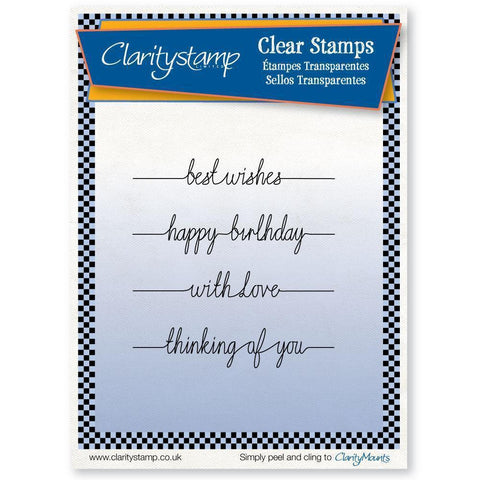 Line Sentiments 1 - Best Wishes Unmounted Clear Stamp Set