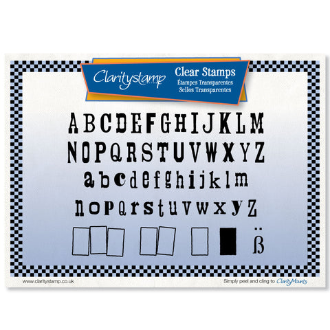 Woodpress Letters + MASK <br/>Unmounted Clear Stamp Set