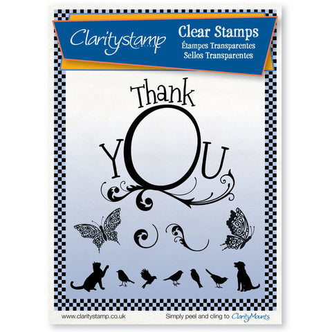 Thank You Frame + MASK <br/>Unmounted Clear Stamp Set