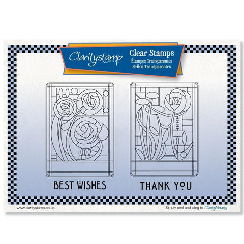 Art Nouveau Best Wishes & Thank You <br/>Unmounted Clear Stamp Set