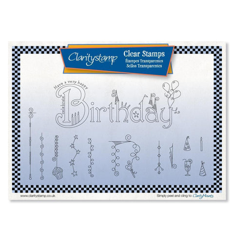 Linda's Birthday Dangles <br/>Unmounted Clear Stamp Set