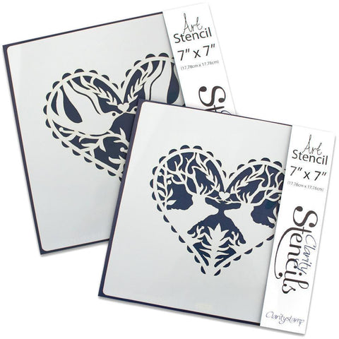 "Deer & Dove Hearts Stencil Set 7"" x 7"""