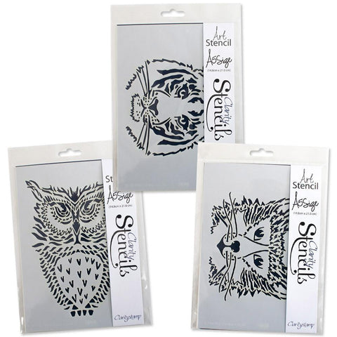 Wild Animal Faces Stencils A5 (Set of 3)