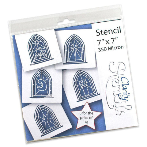 "Stained Glass Window Stencils 7"" x 7"" (Set of 5)"
