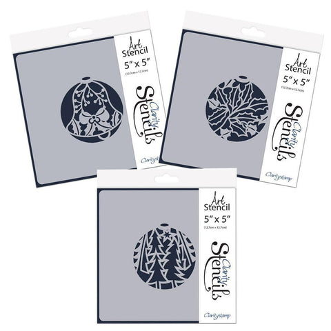 "Christmas Baubles Set 1 - Bell, Holly & Pine Forest - 5"" x 5"" Stencil Set"