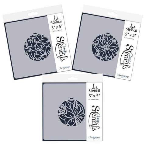 "Christmas Baubles Set 2 - Ivy Leaves, Poinsettia & Single Ivy Leaf - 5"" x 5"" Stencil Set"