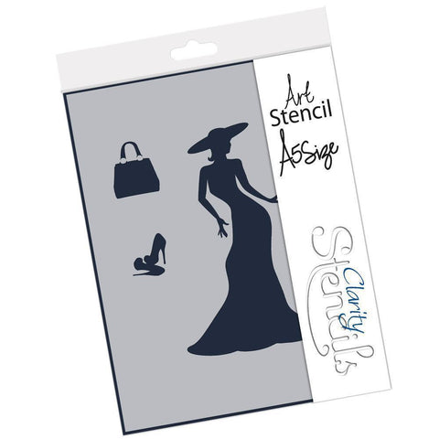 Elegant Lady & Accessories Stencil A5