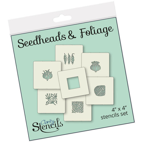 "Seed Heads & Foliage Tiles 4"" x 4"" Stencil Set"