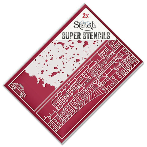Town & Texture Super Stencils (Set of 2) + FREE Punchinella Strip