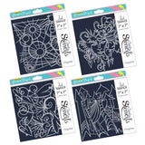 "Leonie's Natural Beauty Arty Patterns Stencil Set 7"" x 7"""