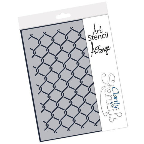Chain Link Fence Stencil A5