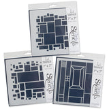 "Abstract Squares Stencils 7"" x 7"" (Set of 3)"