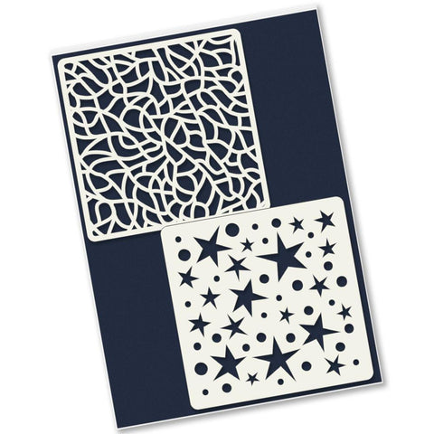 Tangle And Spots & Stars 4 x 4 Inch Petite Stencil Set