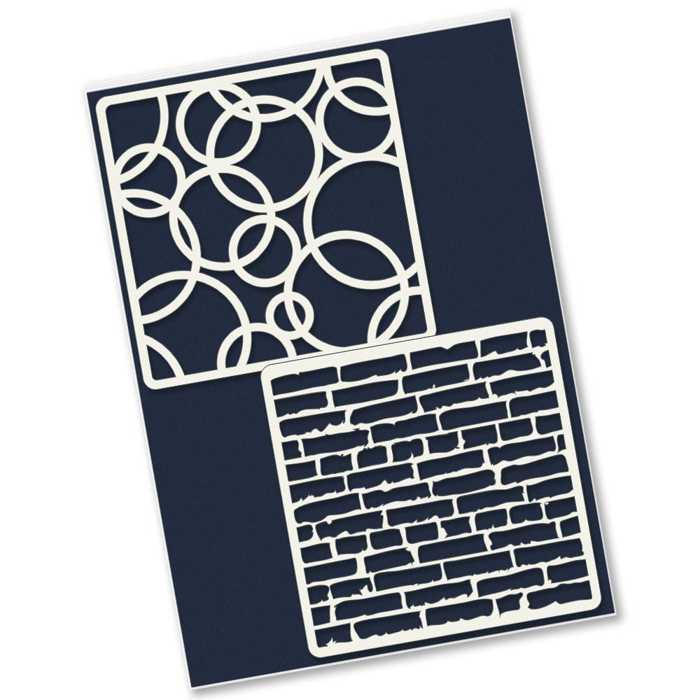 Rings amp brick wall 4 x 4 inch petite stencil set claritystamp rings brick wall 4 x 4 inch petite stencil set amipublicfo Images