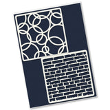 Rings & Brick Wall <br/>4 x 4 Inch Petite Stencil Set