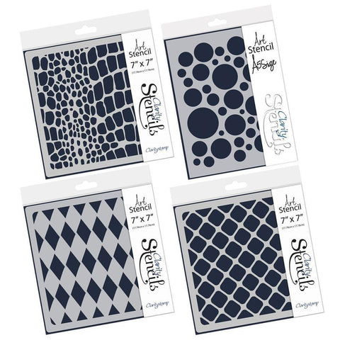 "Pattern Background Stencils 7"" x 7"" & A5 (Set of 4)"