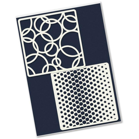 Rings & Dotty Wave <br/>4 x 4 Inch Petite Stencil Set