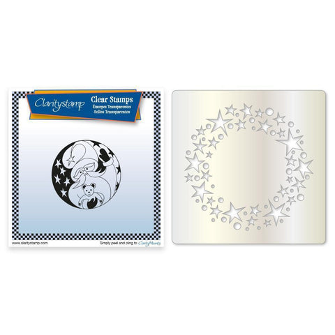 Santa Round <br/>Unmounted Clear Stamp + Stars Wreath Stencil & MASK