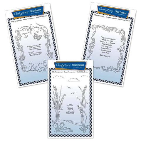 Poetry Trio Set Four - Happiness Unmounted Clear Stamp Sets