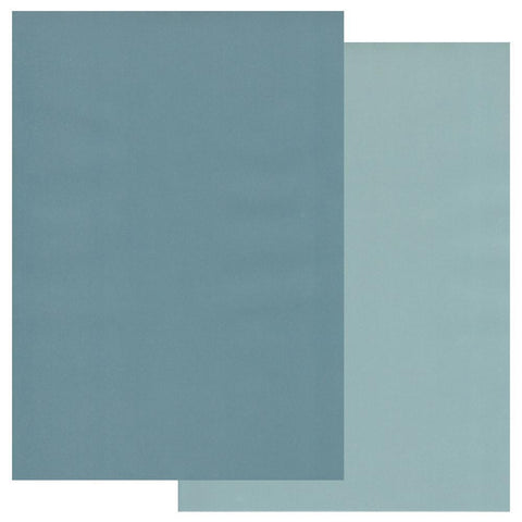 Petrol Blue & Smokey Blue x10 Groovi Two Tone Parchment Paper A4