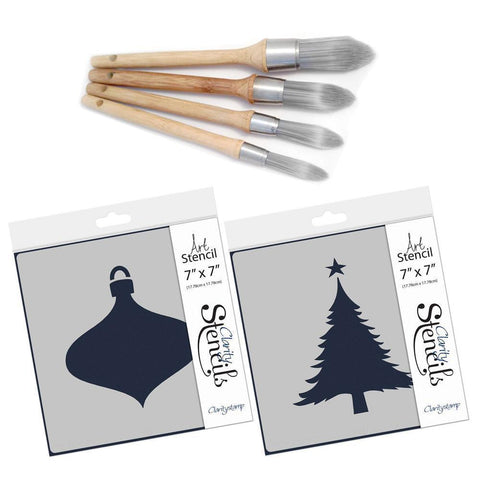 Clarity Stencil Brushes & Christmas Aperture Stencils Set