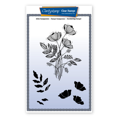 Tina's Floral Spray Unmounted Clear Stamp Set