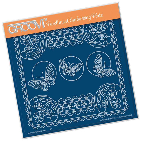 Tina's Forget Me Not & Butterflies Floral Delight A5 Square Groovi Plate
