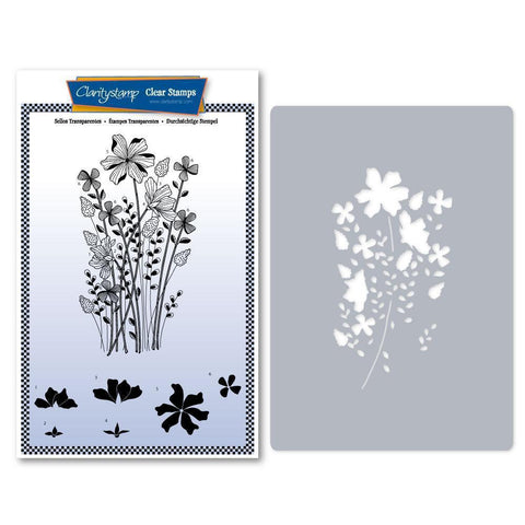 Tina's Meadow Flower Spray Stamp & Stencil Set
