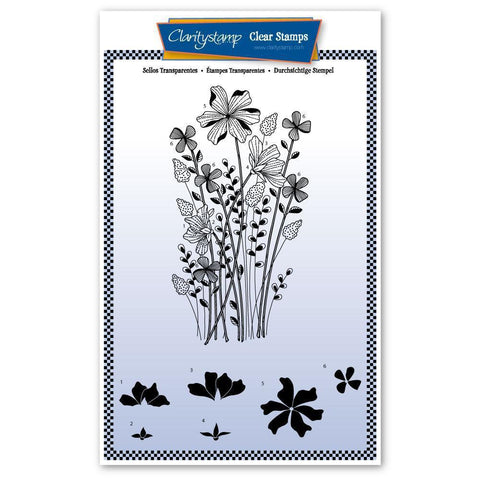 Tina's Meadow Flower Spray Unmounted Clear Stamp Set