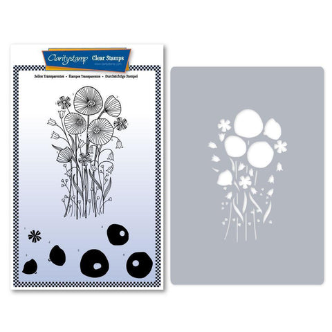 Tina's Poppy Spray Stamp & Stencil Set