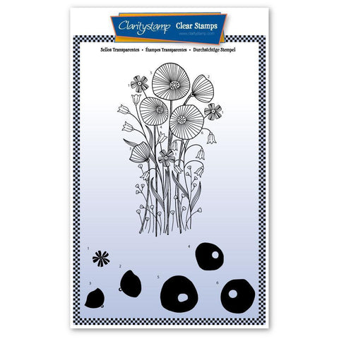 Tina's Poppy Spray Unmounted Clear Stamp Set