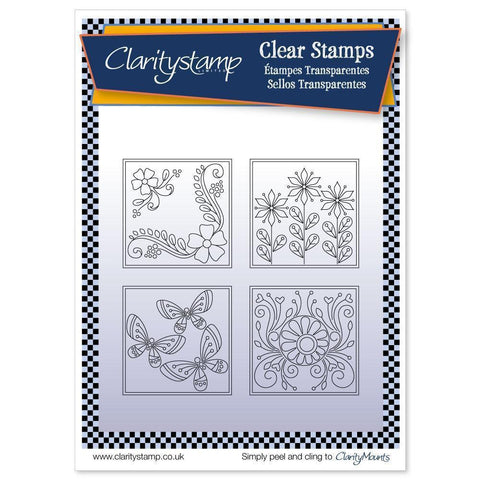 Tina's Summer Layering Squares + MASK Unmounted Clear Stamp Set