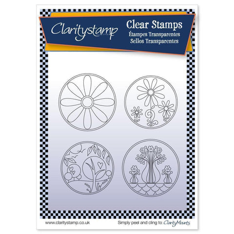Tina's Summer Layering Circles + MASK <br/>Unmounted Clear Stamp Set