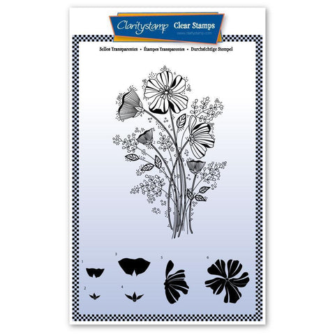Tina's Wild Flower Spray Unmounted Clear Stamp Set