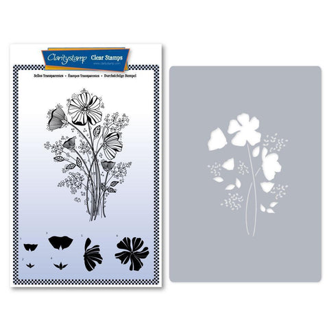 Tina's Wild Flower Spray Stamp & Stencil Set