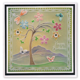 Tina's Tree Fun <br/>A5 Square Groovi Plate <br/>(Set GRO-FL-41016-03)