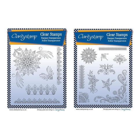 Tina's Henna Corners 1 & 2 <br/>Unmounted Clear Stamp Set Bundle