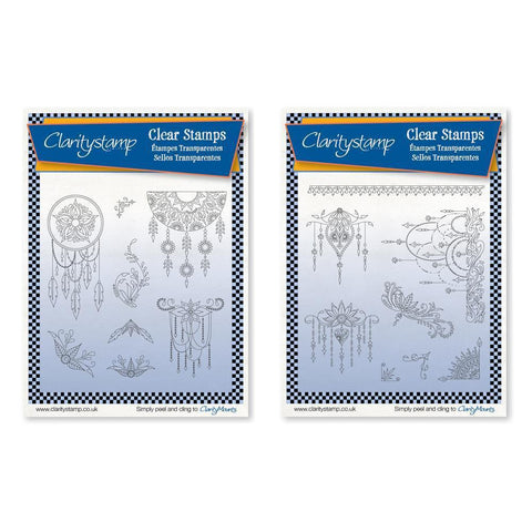 Tina's Henna Dreamcatcher & Droplets Unmounted Clear Stamp Set Bundle