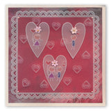 Tina's Doodle Dove Hearts A5 Square & Groovi Border Plate Set