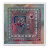 Tina's Doodle Love Hearts <br/>A5 Square Groovi Plate <br/>(Set GRO-LO-40893-XX)