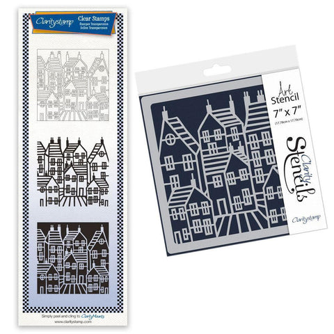 Townhouse Three Way Overlay + MASK Unmounted Clear Stamp & Stencil Duet