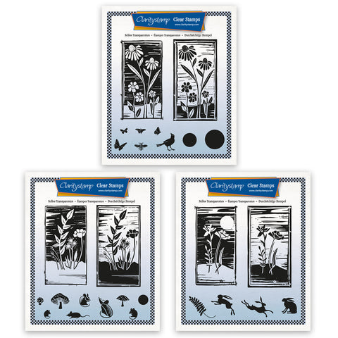 Barbara's Linocut Floral A5 Square Stamp Collection