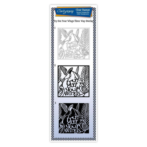 Try Out Your Wings - Three Way Overlay Unmounted Clear Stamp Set