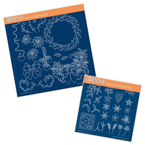 Linda's Twiggy Wreath & Wreath Accessories Duet A4 Square & A5 Square Groovi Plate Set