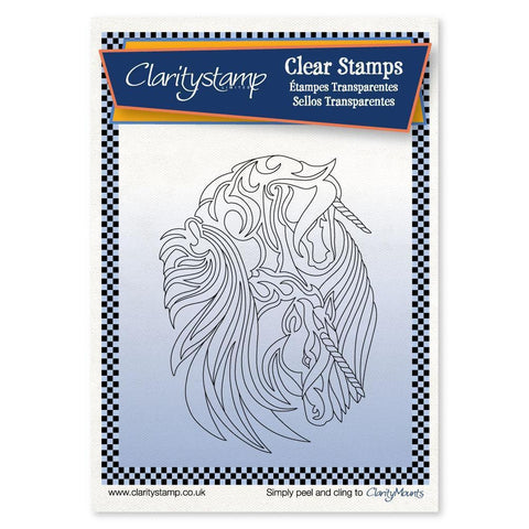 Unicorns + MASK <br/>Unmounted Clear Stamp