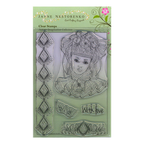 Venetian Lady Unmounted Clear Stamp Set